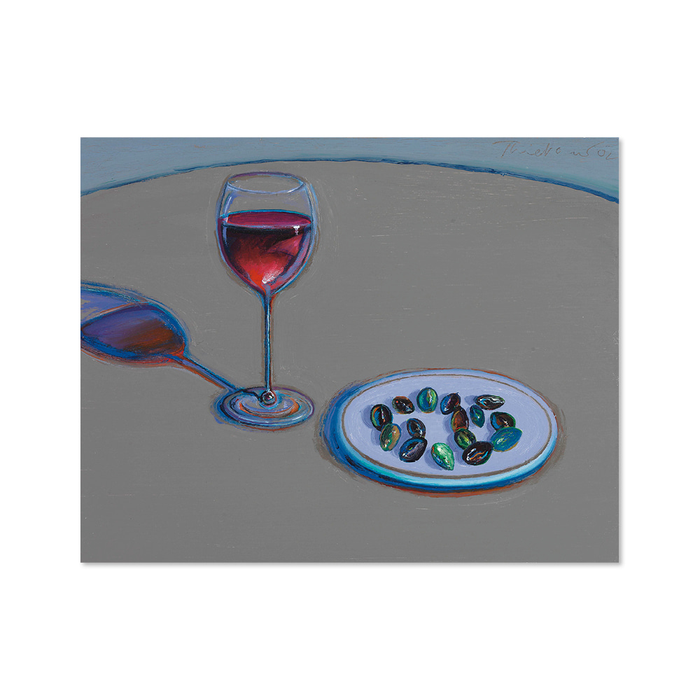 웨인 티보 WAYNE THIEBAUD 012 Glass of Wine & Olives